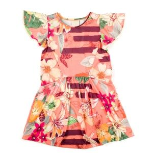 Girls Floral Print Ruffle Dress Size 6
